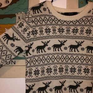 Winter moose & snowflake sweater